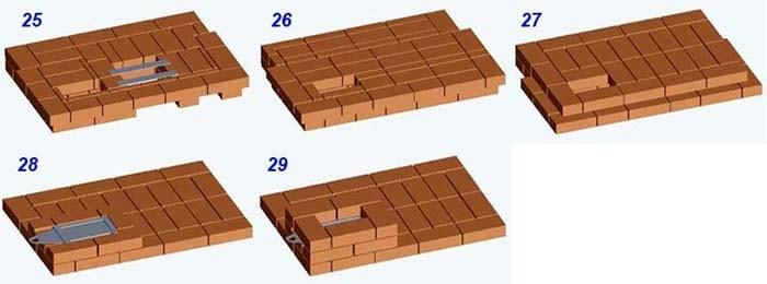 Схема рядов 25—29 печки с лежаком