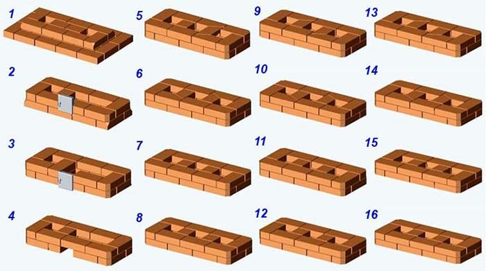 Кладка верхней секции печи ряды 1—16