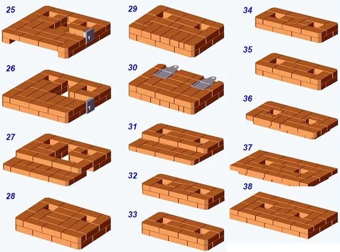 Кладка печи на 2 этажа ярусы 25—38