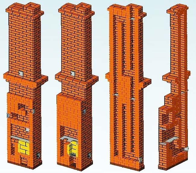 Конструкция шведской печки на 2 этажа в разрезе