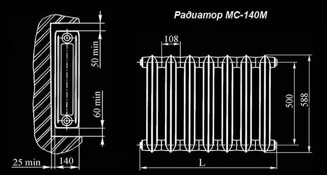 Креслення чавунної батареї МС-140