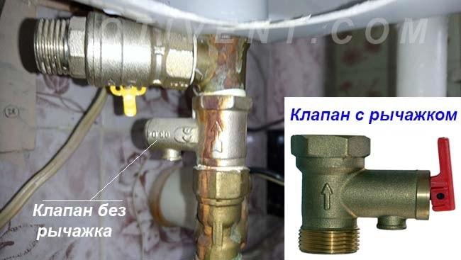 Предохранительный клапан емкостного водонагревателя