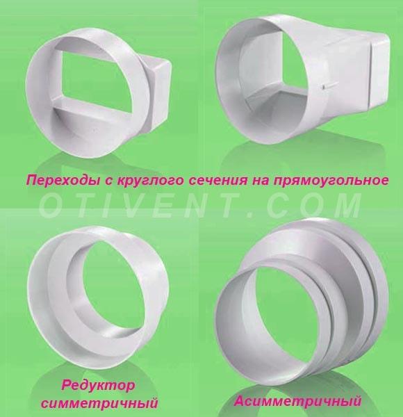 Переходы для пластиковых систем вентиляции