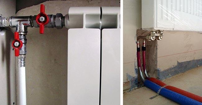 Бокове і нижнє під'єднання приладу водяного опалення