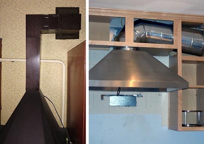 Металлические воздуховоды на кухне