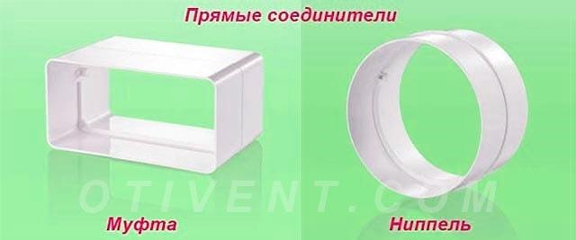 Ниппель и муфта для прямого соединения воздуховодов