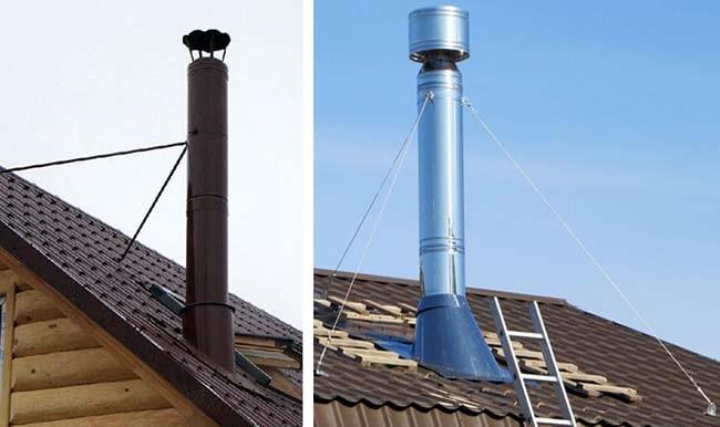 Як закріпити кінець димохідної труби над дахом