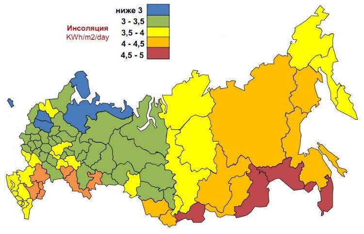Карта инсоляции регионов России