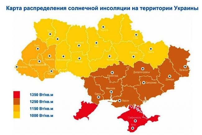 Карта розподілення сонячної радіації по території України