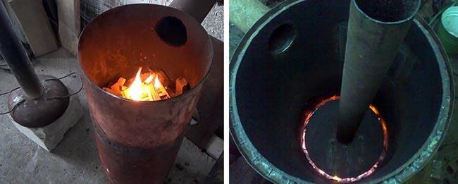 Розжиг печи верхнего горения