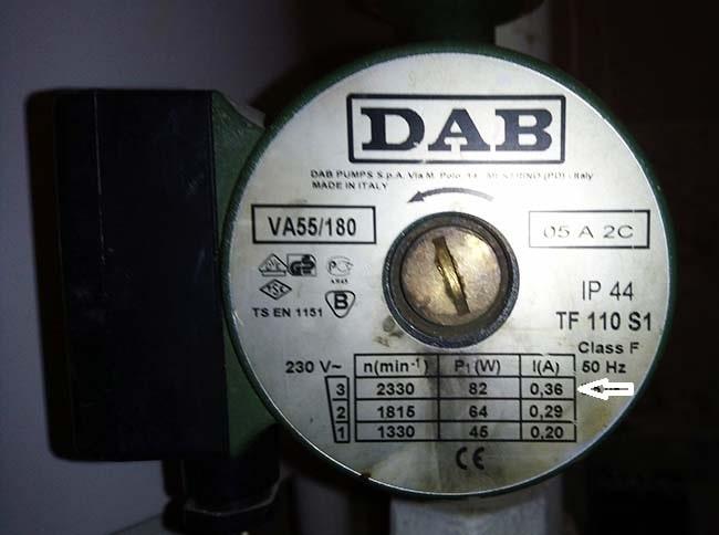 Технические характеристики циркуляционного насоса DAB