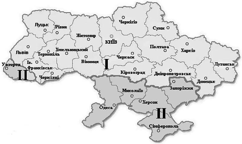 Температурні зони України – схема