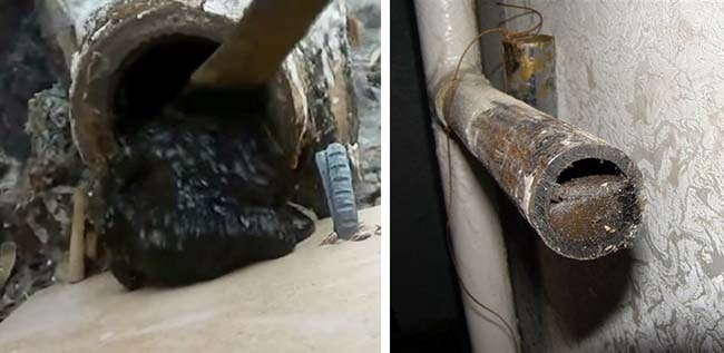 Загрязнение отопительных батарей и труб