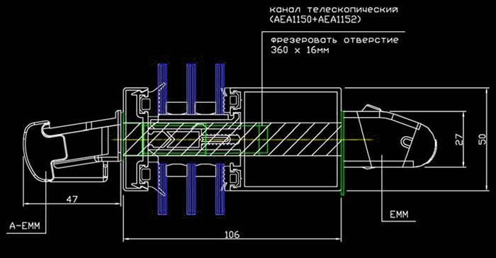 Врезка оконного приточного устройства – чертеж