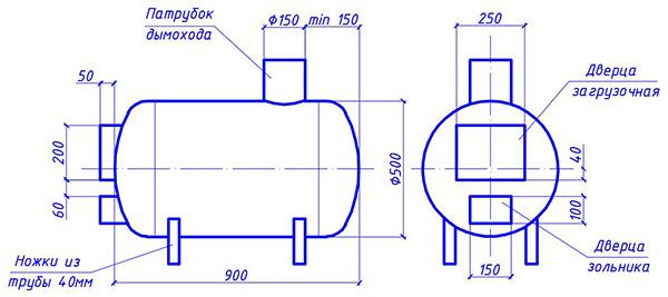 Схема теплогенератора с размерами