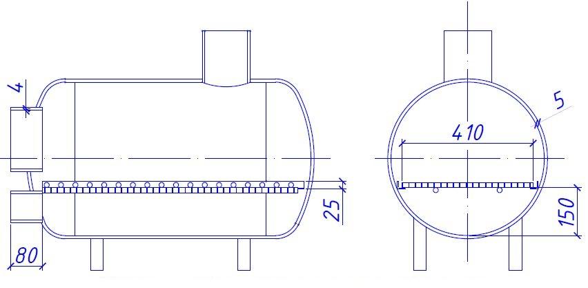 Банный отопитель в разрезе